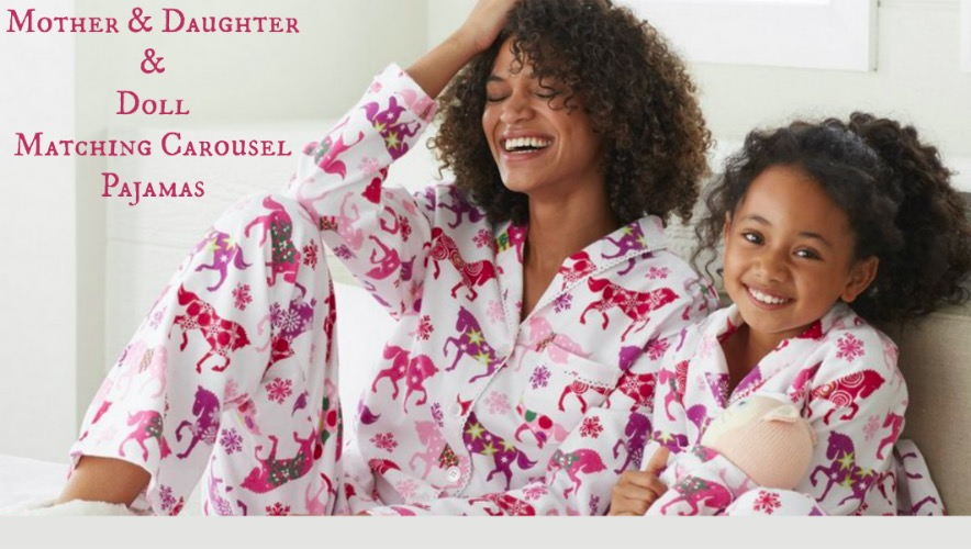 Mother Daughter and Doll Matching Carousel Horse Pajamas